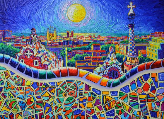 COLORFUL BARCELONA PARK GUELL MAGIC NIGHT BY MOON abstract city nightscape textural impasto palette knife oil painting by Ana Maria Edulescu