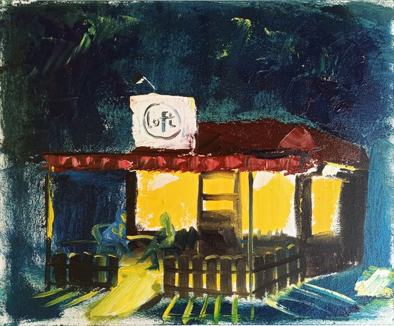 Cafe in the city at the Night. Plein Air Painting