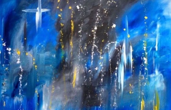 """""""Cross And The Three White Guardian Angels"""" 150x100x2cm"""