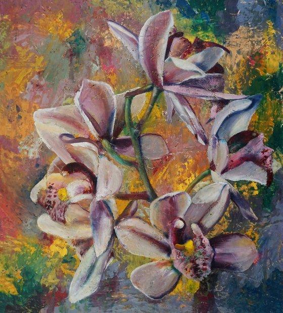 Orchid II. (hot wax on OSB)