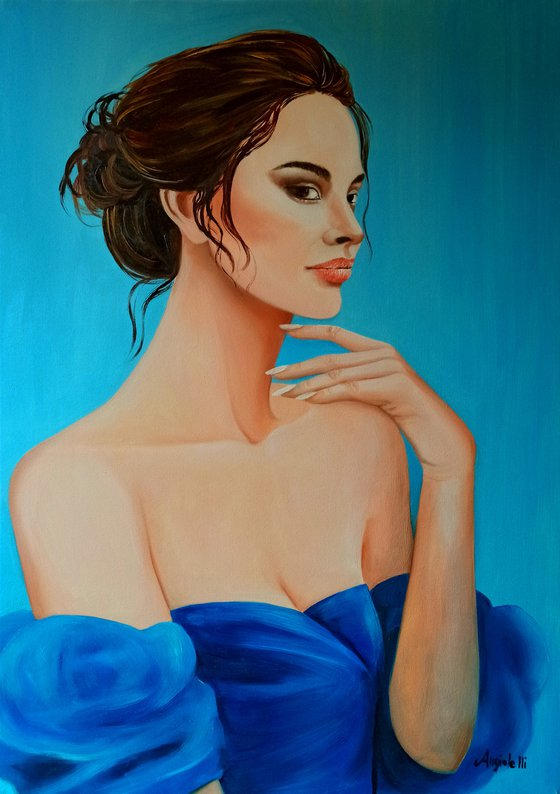 Blue silk - portrait