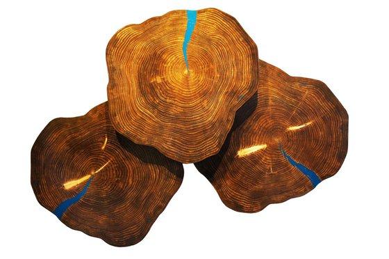 'Blue Cookies' - Original Wood Art Contemporary Lodge Decor Wooden Wall Sculpture Modern Nature Art