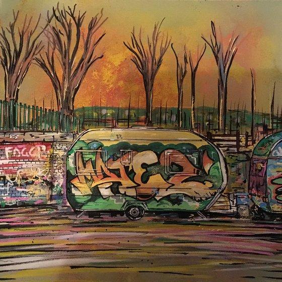 Graffitied Caravan 2