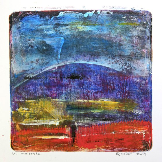 Storm Hill - Acrylic & Ink Monotype on Paper Unframed