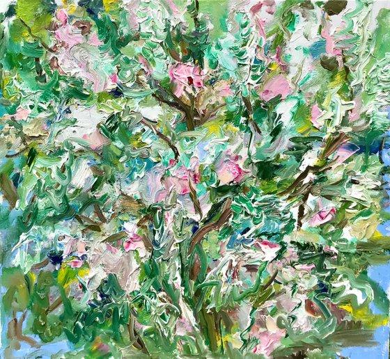 Lilac Tree - landscape art, original oil on canvas, gift
