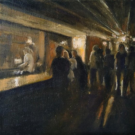 In the bar 30x30cm ,oil/canvas, impressionistic figure