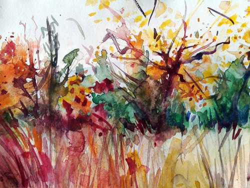 Autumn in South Park - Watercolor Painting by Georgi Nikov