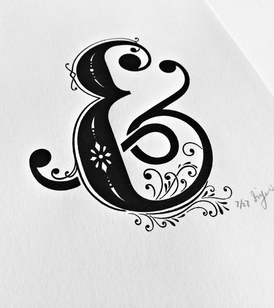 Ampersand Wall Art, A5 Screen Printed Black And White Typography Print