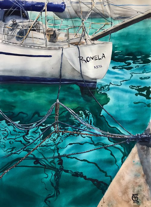 ROMELA YACHT - original watercolor painting sea water yacht blue gift for yachtsman gift for him