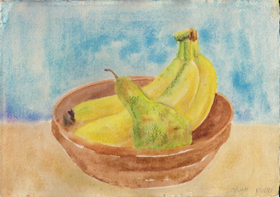 Still life with bananas and a pear