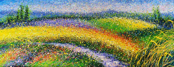 """Flowers fields painting Italian Countryside Panorama summer landscape Villa in the field  - ROLLED  31"""" x 79""""/ 80 x 200 cm."""