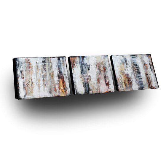 TUNDRA - ABSTRACT ACRYLIC PAINTING TEXTURED * TRIPTYCH