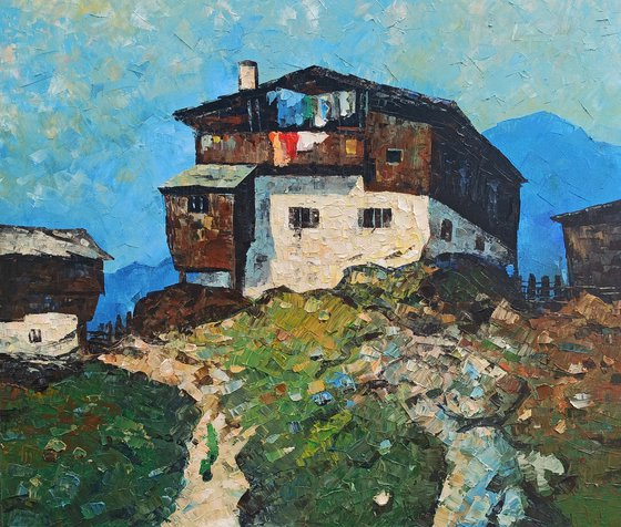 House on the rock (60x70cm, oil painting, ready to hang, palette knife)