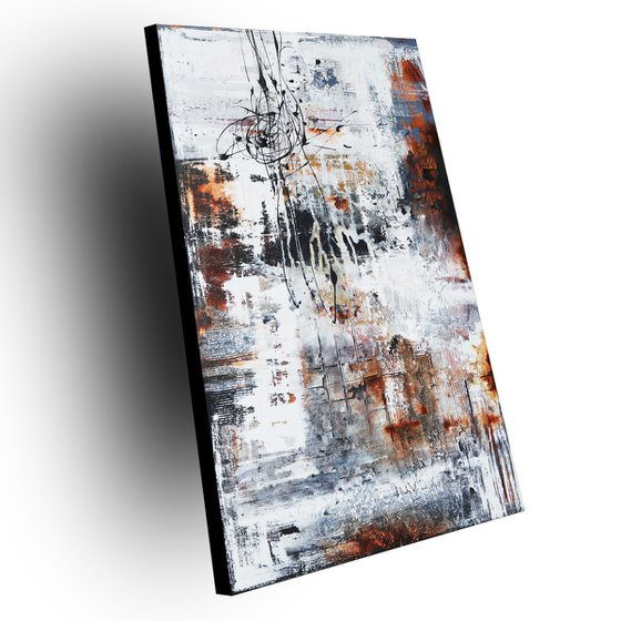 IMPERMANENCE - ABSTRACT ACRYLIC PAINTING TEXTURED * BLACK * WHITE * READY TO HANG