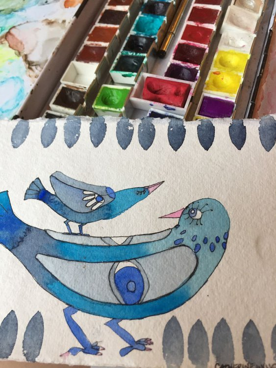Blue Birds Stack Watercolour And Pen And Ink