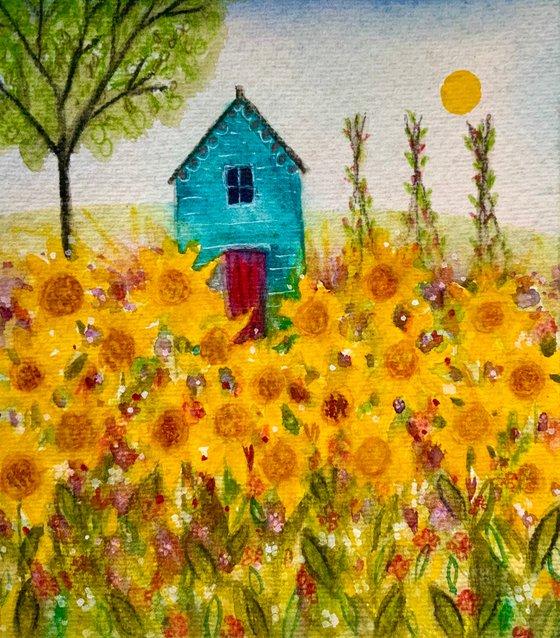 Sunflower Garden, watercolour painting