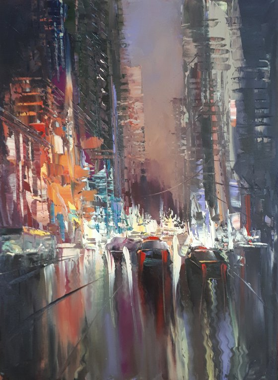 Lights of city -  1 (40x50cm, oil painting, ready to hang)