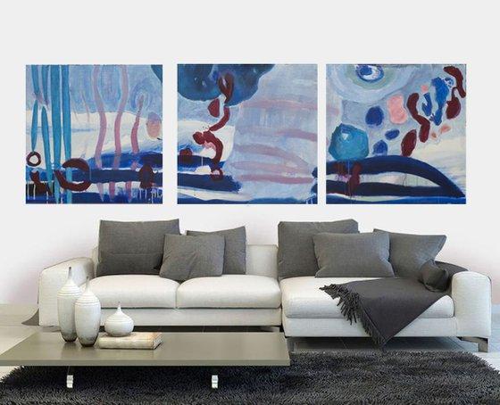 Il mare profondo - triptych, 80 H x 240 W x 4 D cm | 31.5 H x 94.5 W x 1.5 D inch, Acrylic on canvas