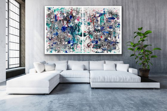 Large Abstract - It Defines You - Diptych
