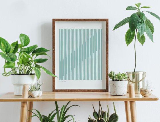Parallel (Sage Geometric Linocut Print)