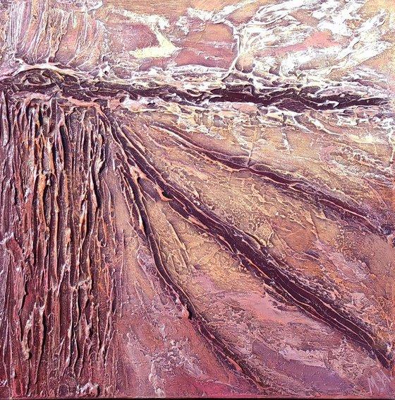 Pink (35x35cm size, texture, Modern art )