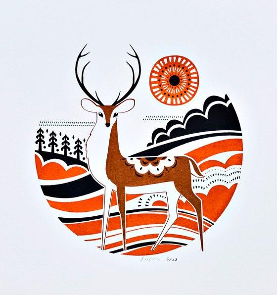 Winter Stag illustration Art Male Deer Silkscreen Art Print