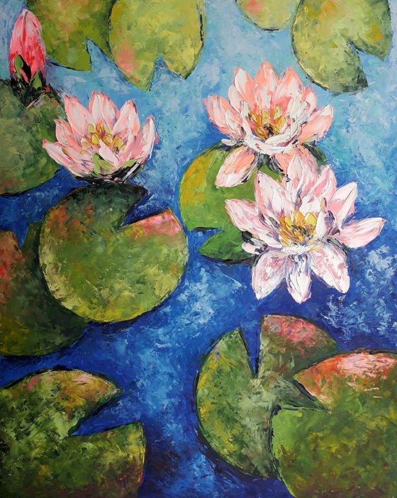 Water Lilies Artwork, Flower Painting, Water lilies Oil Impasto, Original Art Modern, Decor Home, Painting Gift painting by Kseniya Kovalenko