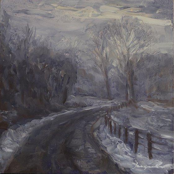 Road in foggy winterland