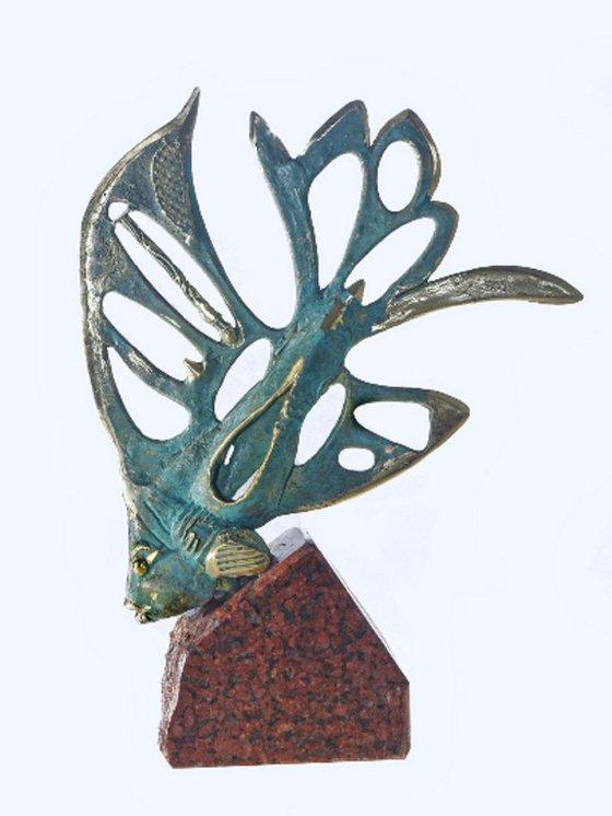 "Bronze Sculpture Fish Figurine Home Decor Perfect Gift ""Elan fish"""