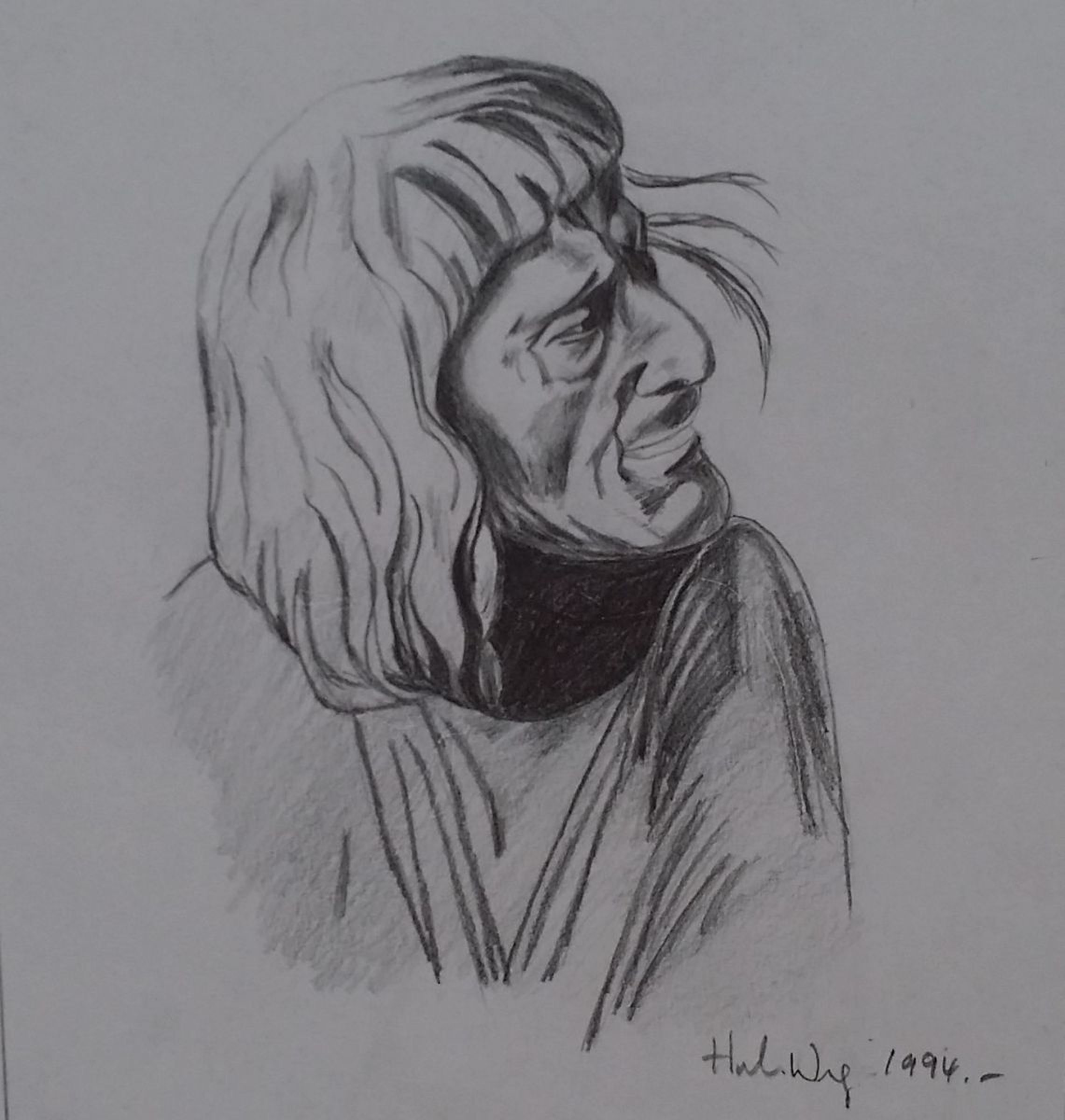 Deep thoughts 1994 pencil drawing