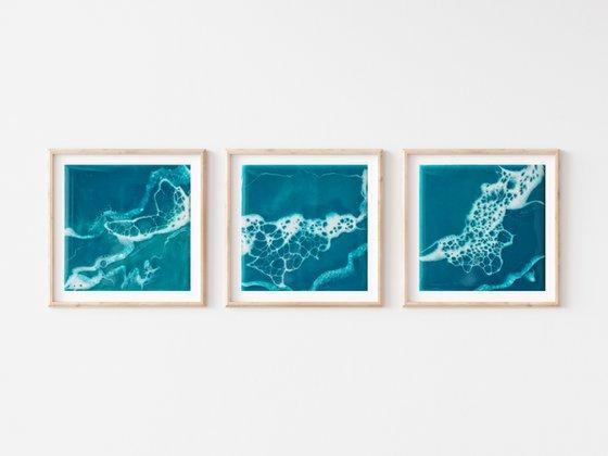 Seascape trio - set of 3 original artwork, triptych