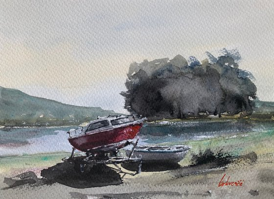 Seascape - boats on dry dock