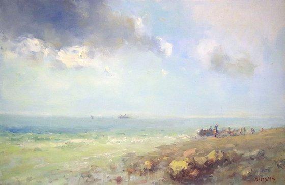 Seashore, Original oil Painting, Handmade art, Impressionism, One of a Kind