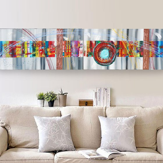 Rainbow A370 Large abstract paintings Palette knife 50x200x2 cm set of 2 original abstract acrylic paintings on stretched canvas