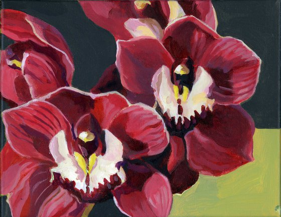 Red orchids acrylic floral