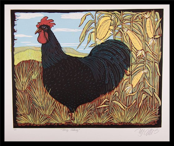 Rooster, linocut reduction