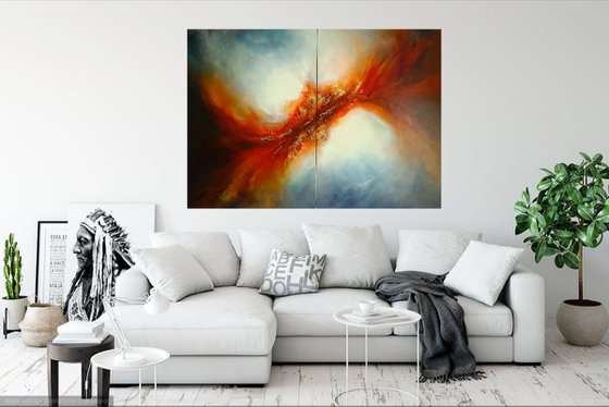 THE LIGHT OF FREEDOM (Extra large diptych oil painting)
