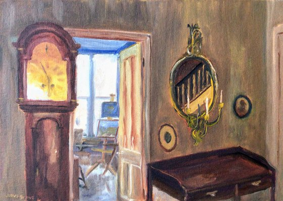 View through to the studio - An original interior oil painting