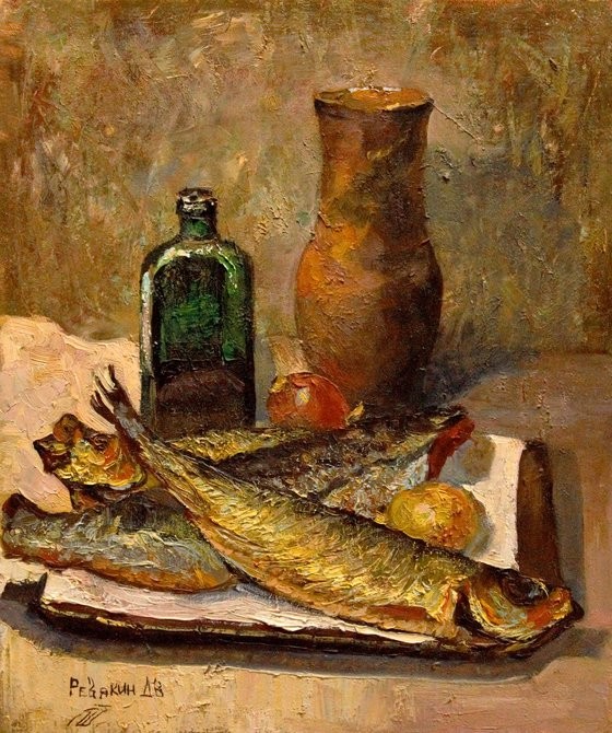 Still life with fish. Original impressionism realism oil painting