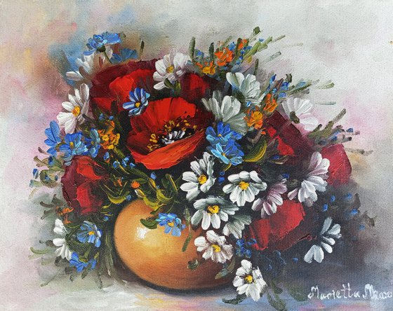 Field flowers with red poppies (24x30cm, oil painting, ready to hang)