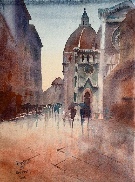 Rain in Florence.