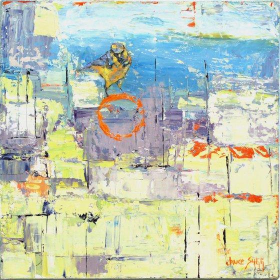'Lavender Burning Blue w/ Bird' - Original Bird Painting Urban Wildlife Art Colorful Modern Art Contemporary Birds Decor