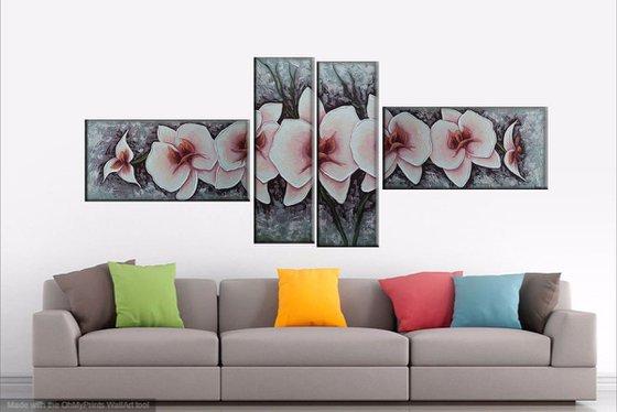 Orchids(30x60 20x60 20x60 30x60 size, pallete knife, Modern art )