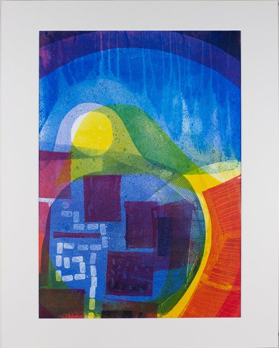 """High Summer - Mounted and Backed 50cm (20"""") x 40 cm (16"""") Original Signed Monotype"""