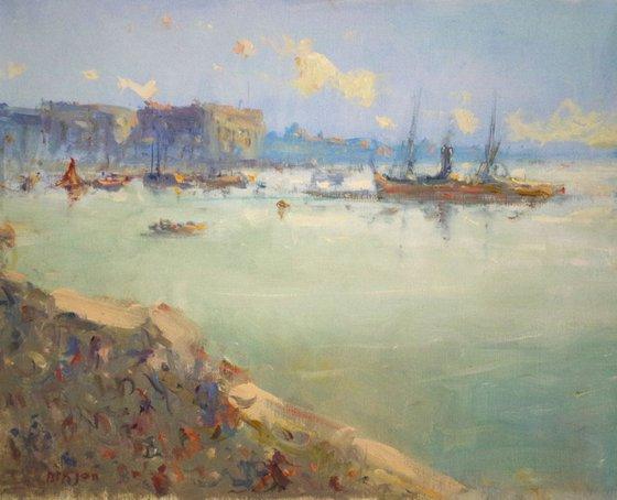 Venice Morning, Seascape Original oil Painting,Handmade art, Impressionism, One of a Kind