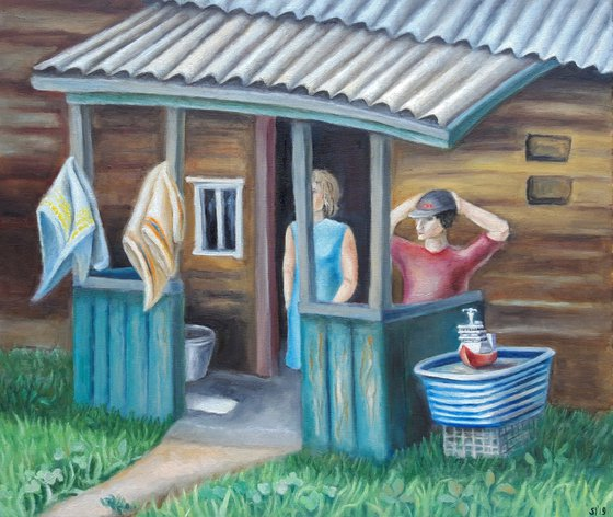 Painting | Oil | In the paradise of shack