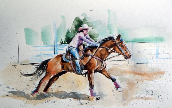 Rider with her horse /25 x 38 cm/
