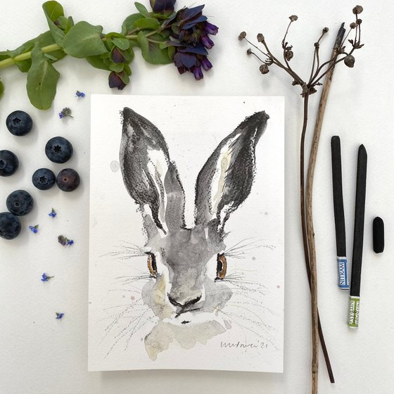 Confused Hare charcoal and Ink wash drawing on paper #05 - A5 148mm x 210mm