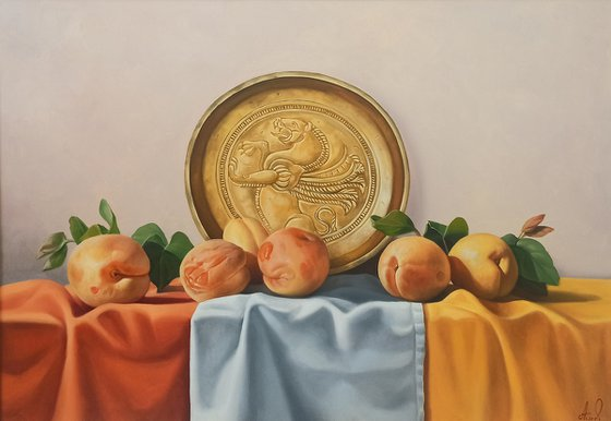 Still life with ripe apricots (50x70cm, oil painting, ready to hang)