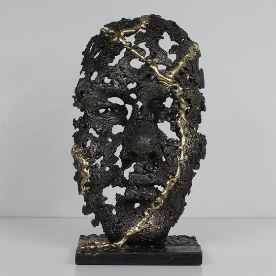 Kintsugi mask - metal sculpture mask face steel brass